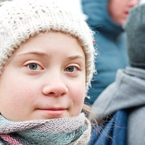 Primer plano de Greta Thunberg